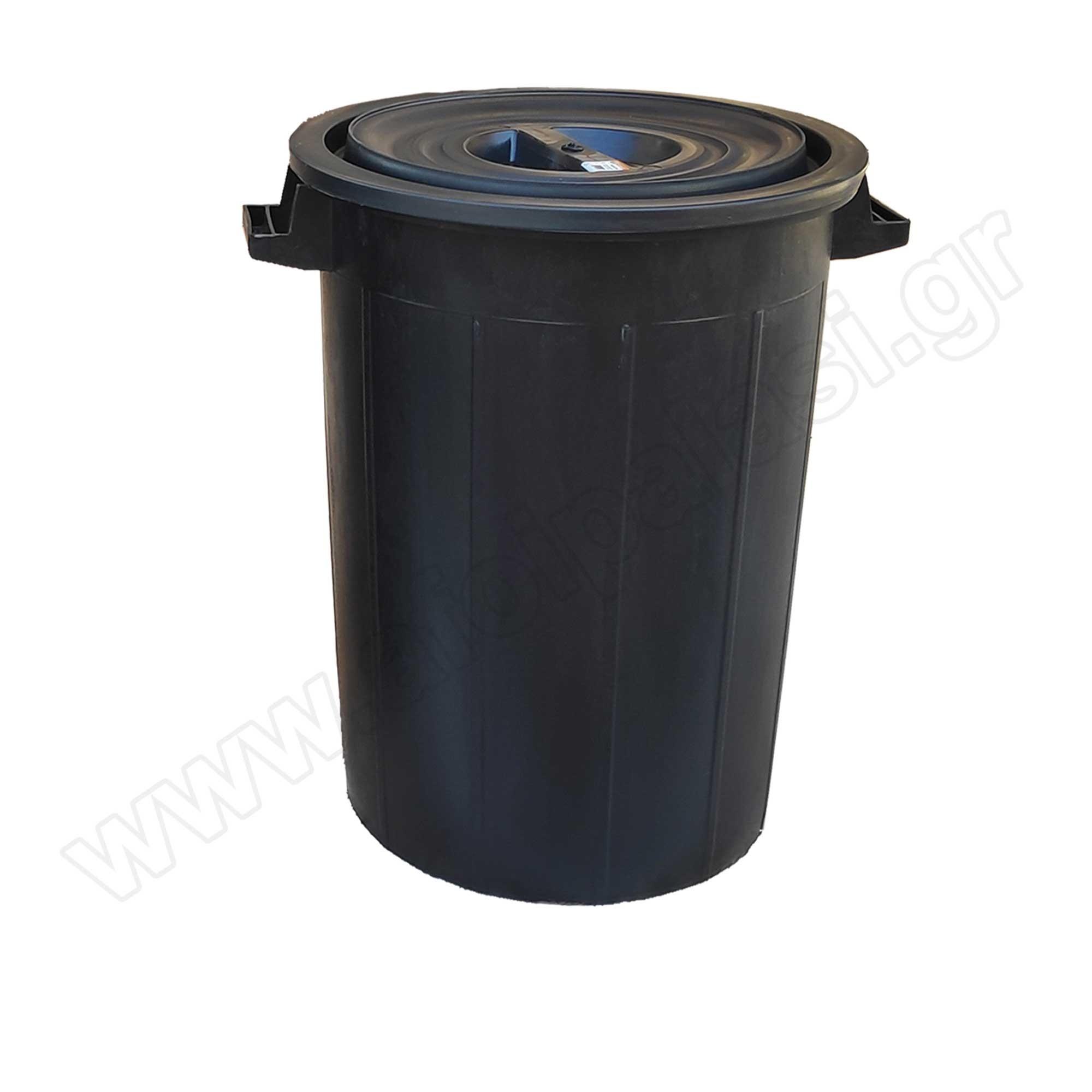 Πλαστικός κάδος απορριμάτων με χειρολαβές Μαύρος 120lt 608012