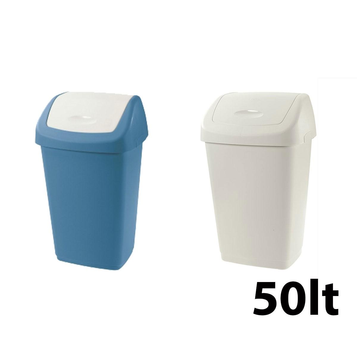 Πλαστικός κάδος Tontarelli Aurora με καπάκι Push 50lt - σε 2 χρώματα