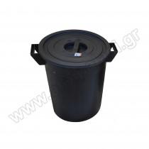 Πλαστικός κάδος απορριμάτων με χειρολαβές Μαύρος 50lt 480050