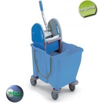 Καρότσι σφουγγαρίσματος με ένα κουβά χωρισμένο στα δύο 30lt Μπλε