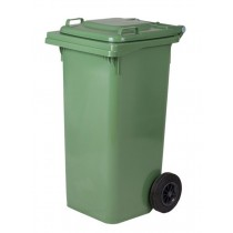 Πλαστικός κάδος απορριμάτων με ρόδες σε Πράσινο 120lt