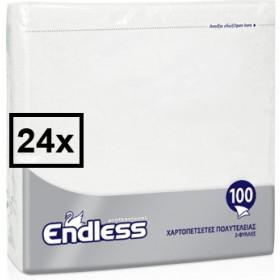 Χαρτοπετσέτες Πολυτελείας Endless Λευκή 2ply 33x33cm Κούτα 24τμχ