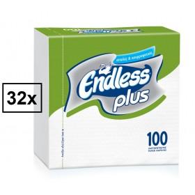 Χαρτοπετσέτες Endless Plus Λευκή 30x30cm Κούτα 32τμχ