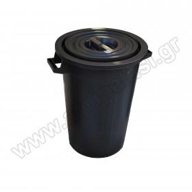 Πλαστικός κάδος απορριμάτων με χειρολαβές Μαύρος 75lt 607576