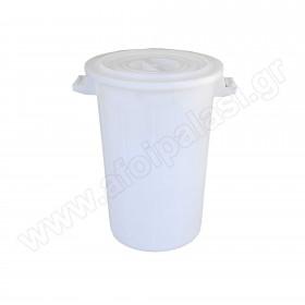 Πλαστικός κάδος απορριμάτων με χειρολαβές Λευκός 75lt 480075