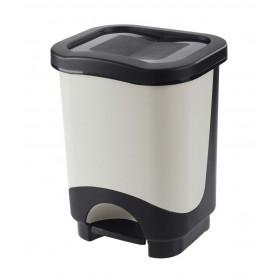 Κάδος απορριμάτων με πεντάλ Tontarelli Idea 24lt Μαύρο-Λευκό